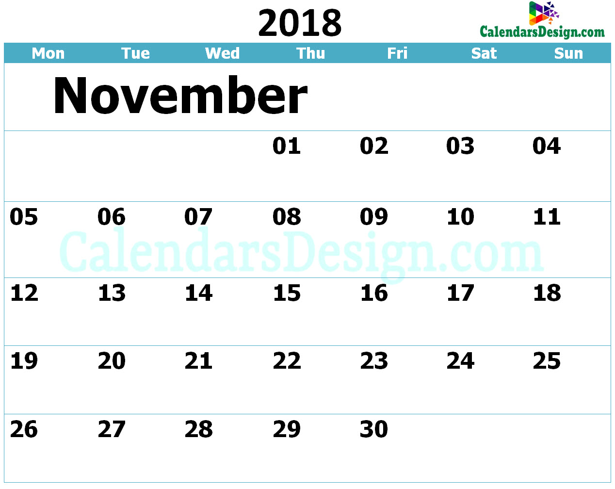Printable Calendar for November 2018 Templates