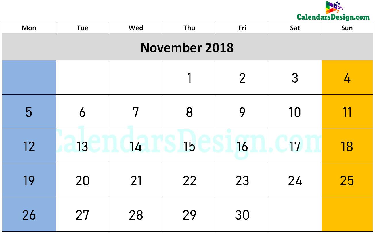 Printable Calendar for November 2018 Word