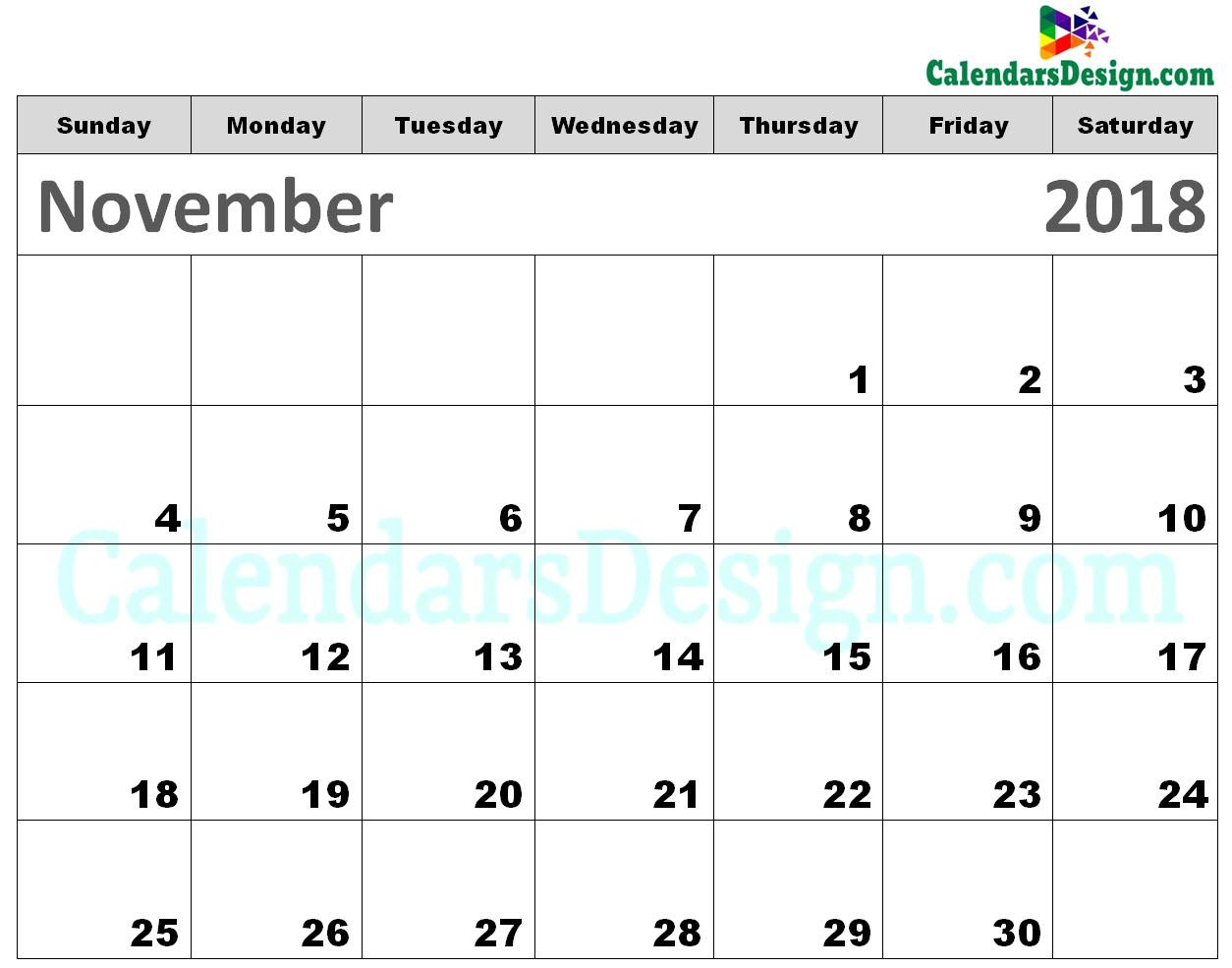 Printable Calendar for November 2018