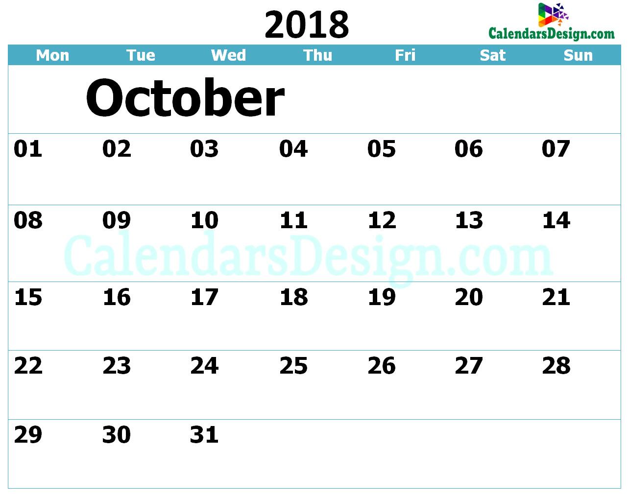 Printable Calendar for October 2018 Templates