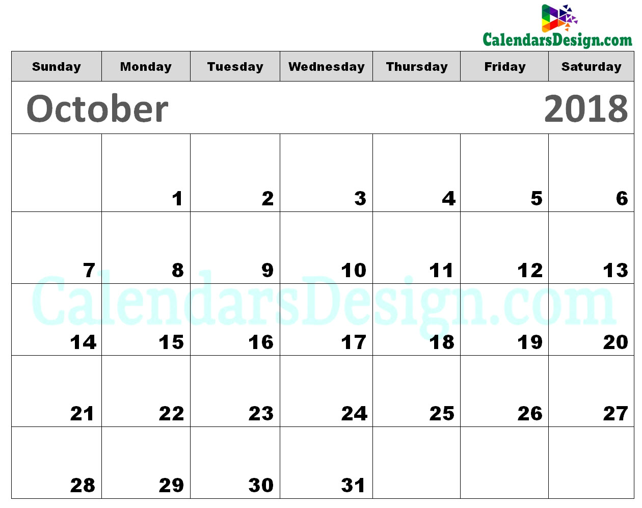 picture regarding October Printable Calendar identified as Printable Calendar for Oct 2018 - Free of charge 2019 Printable