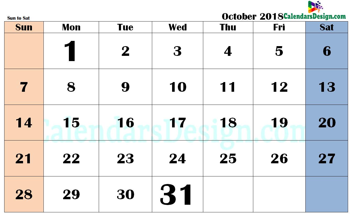 October 2018 Calendar PDF