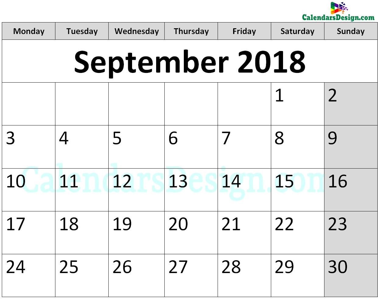 Printable Calendar for September 2018 Page