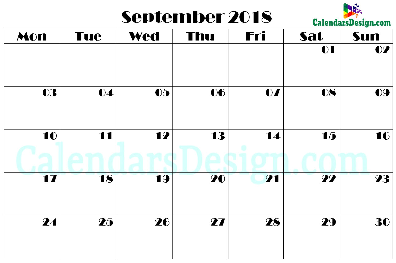 photograph about September Printable Calendar known as Printable Calendar for September PDF - No cost 2019 Printable