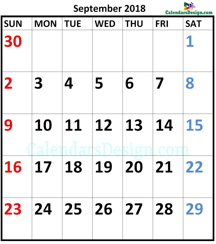 September 2018 Calendar A4 Size