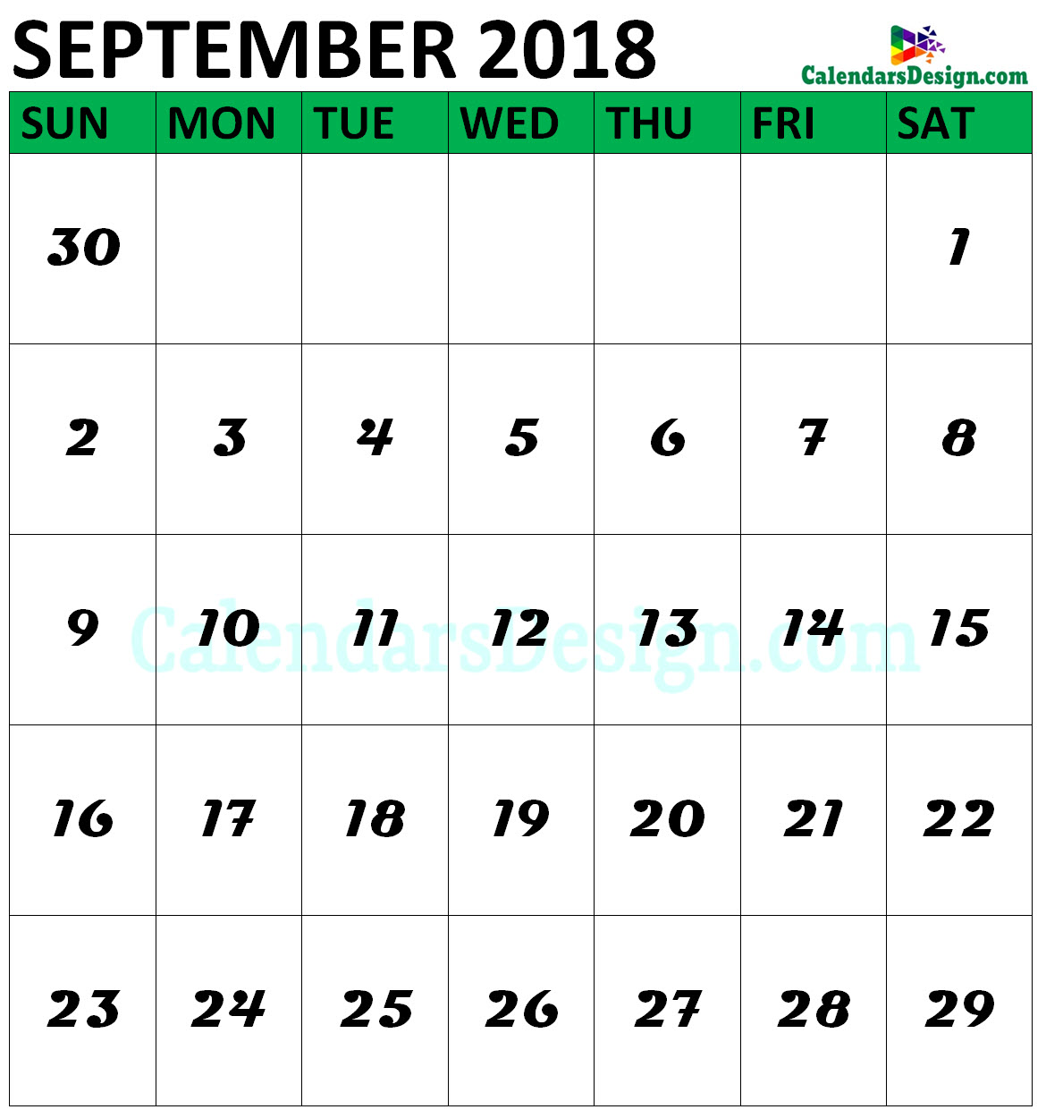 September 2018 Calendar Vertical
