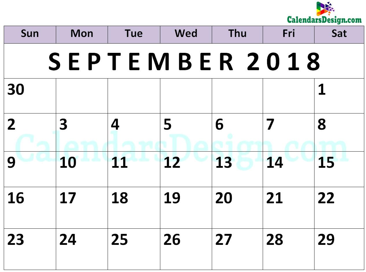 September Calendar 2018 PDF
