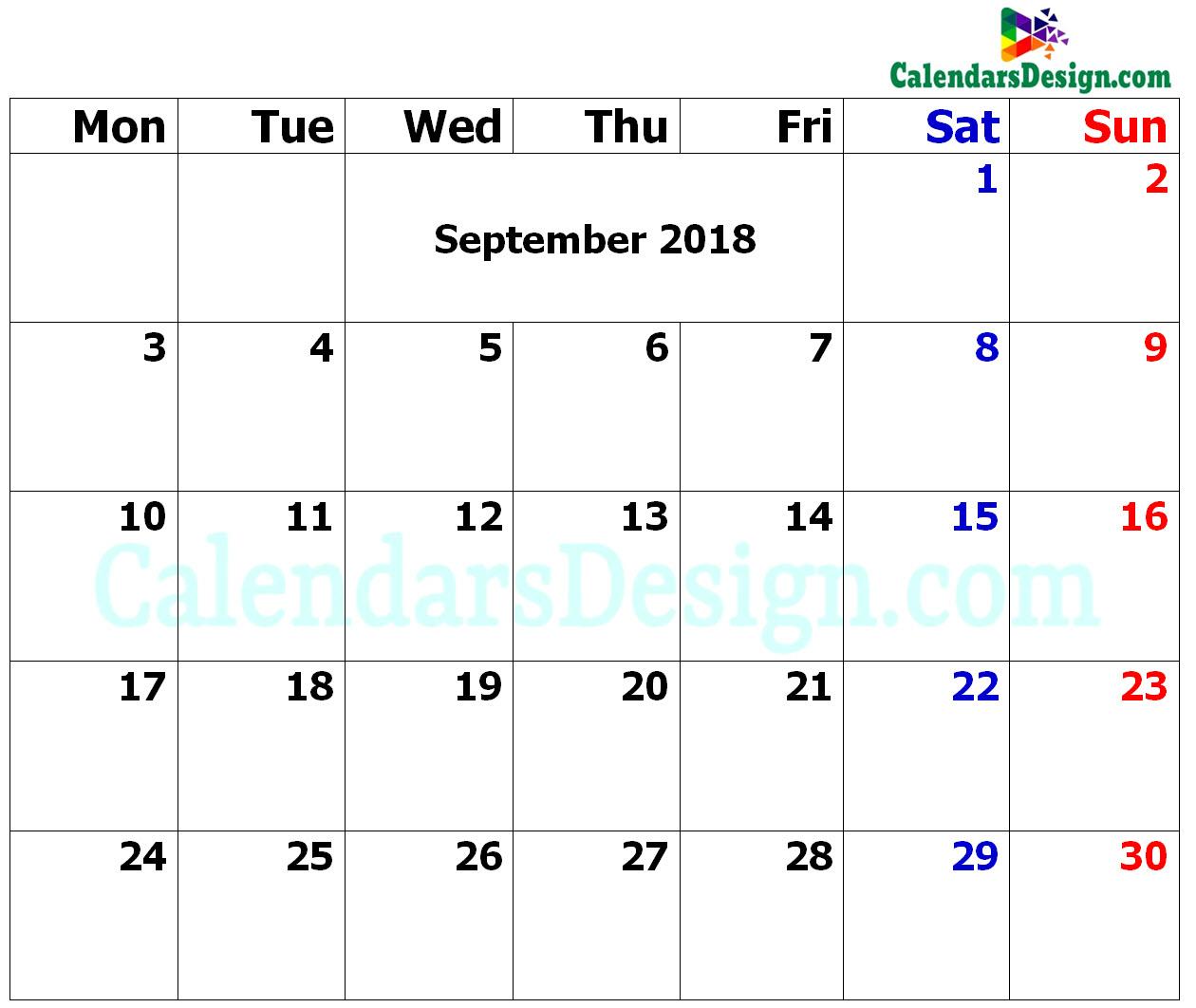 September Calendar 2018 in Excel Format