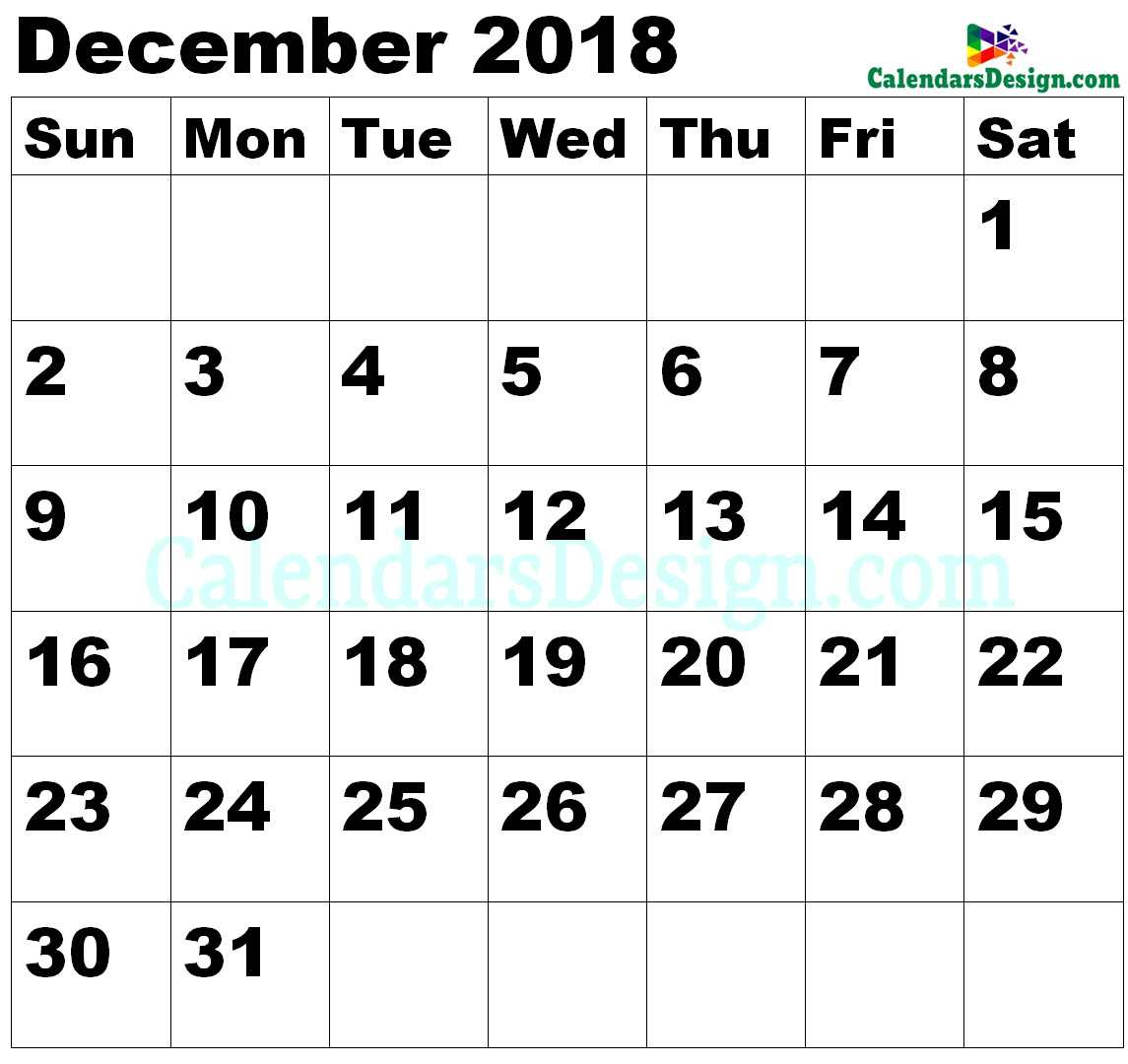 Vertex December Calendar 2018 Printable