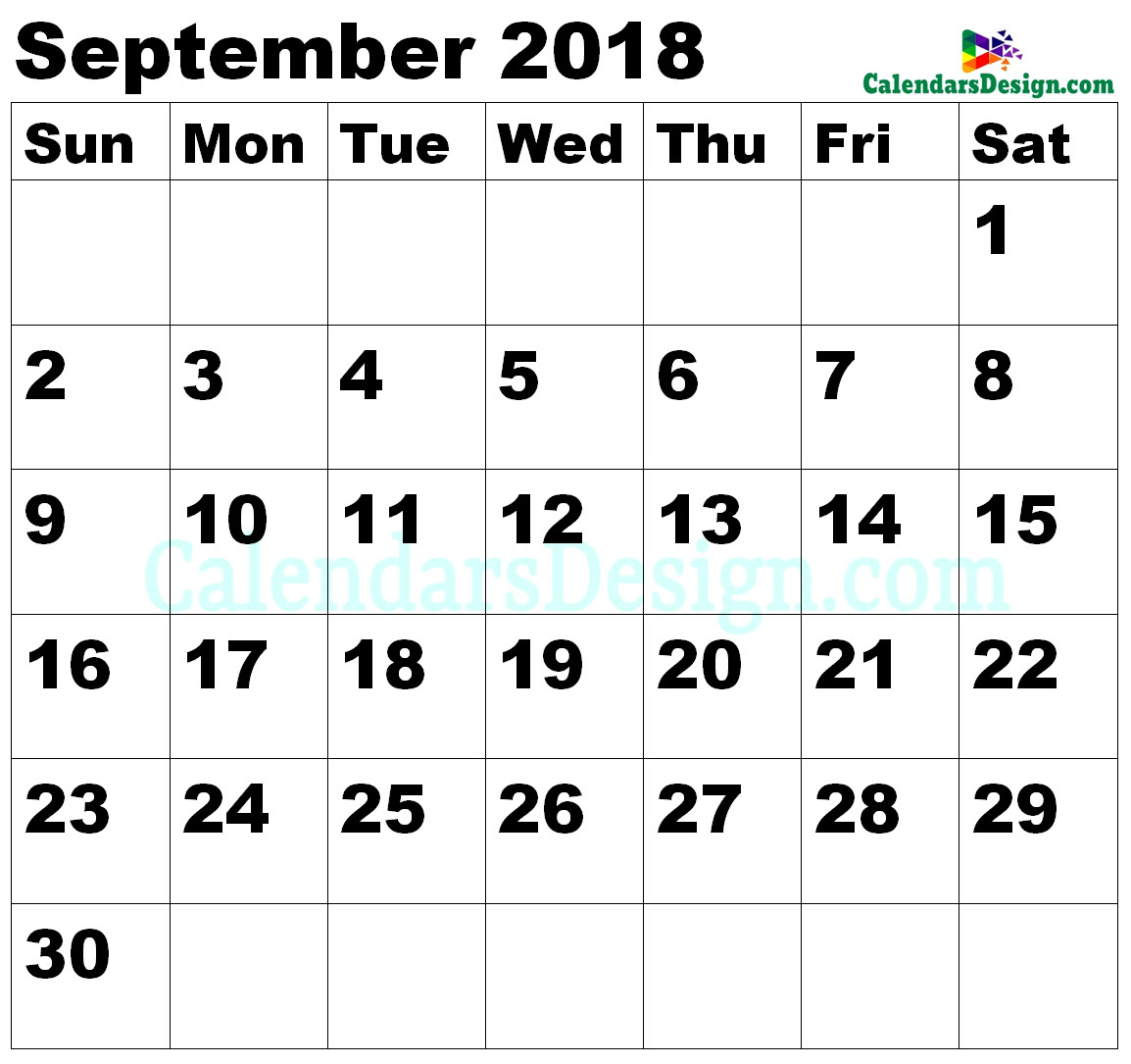 Vertex September Calendar 2018 Printable