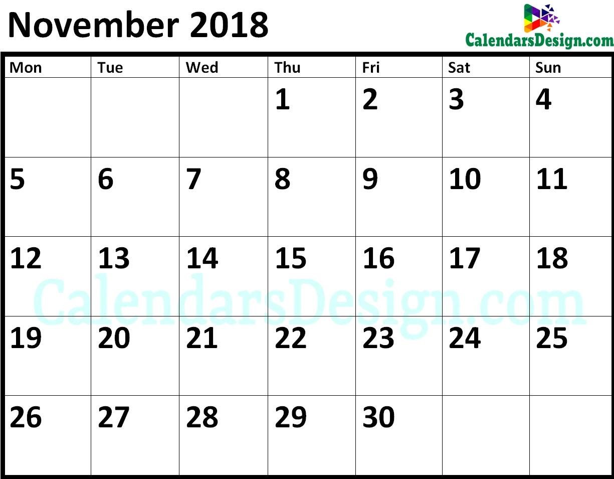 Blank November 2018 Calendar