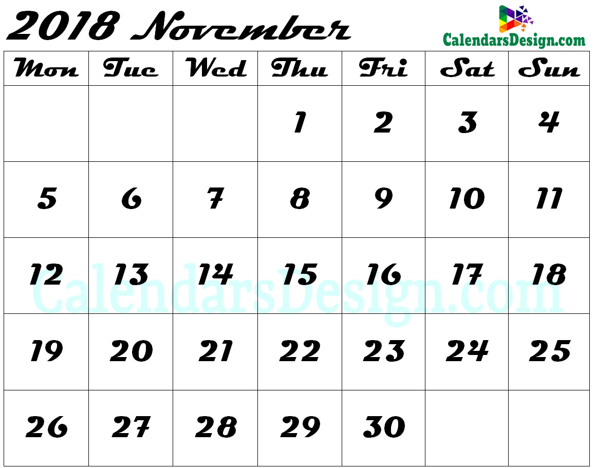 Blank November Calendar 2018 Template