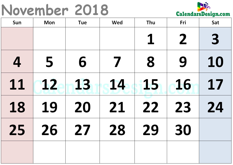 Cute Calendar for November 2018