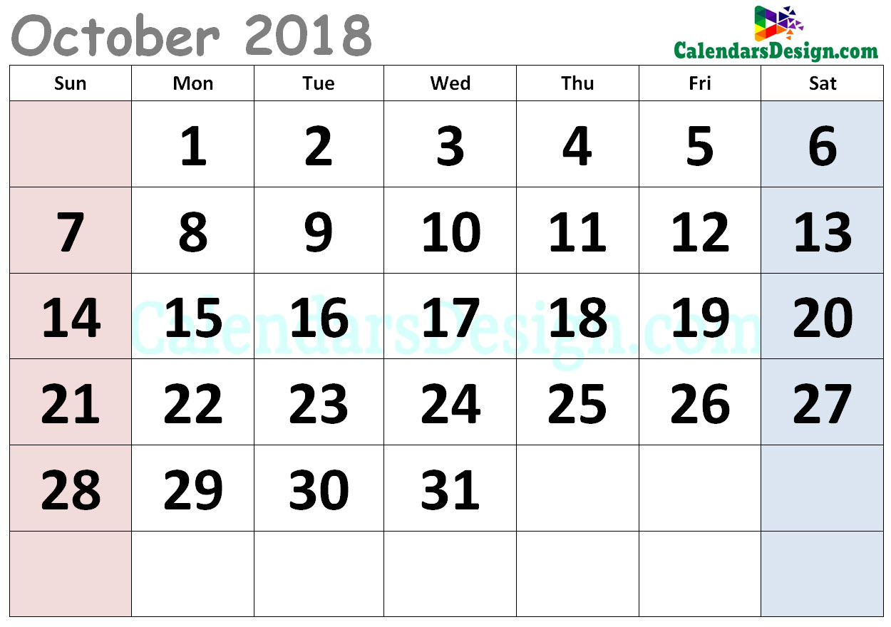Cute Calendar for October 2018