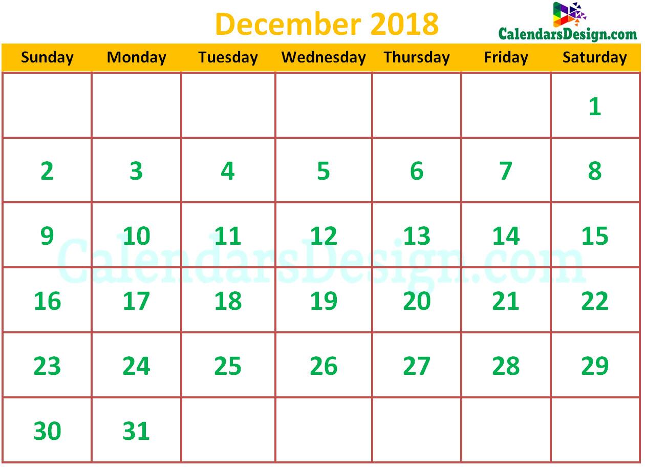 Cute December 2018 Calendar