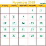 Cute November 2018 Calendar