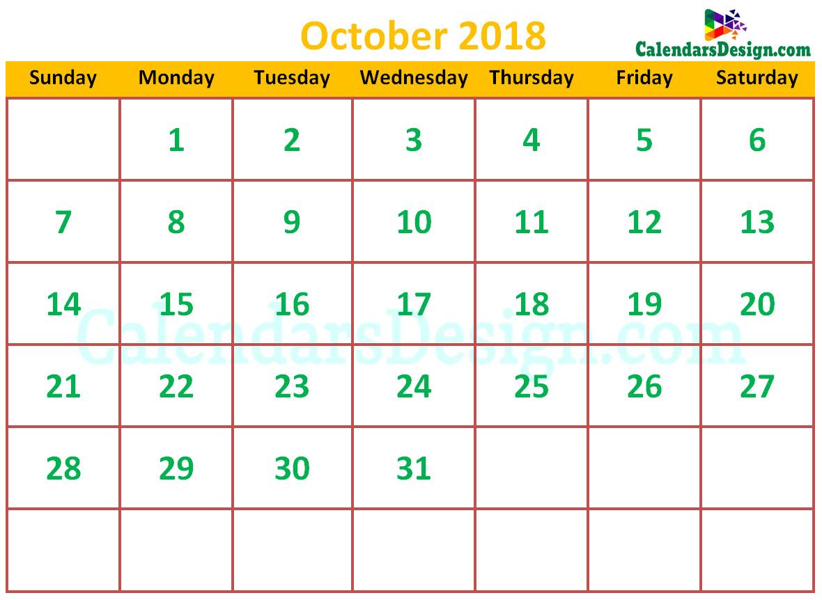 Cute October 2018 Calendar