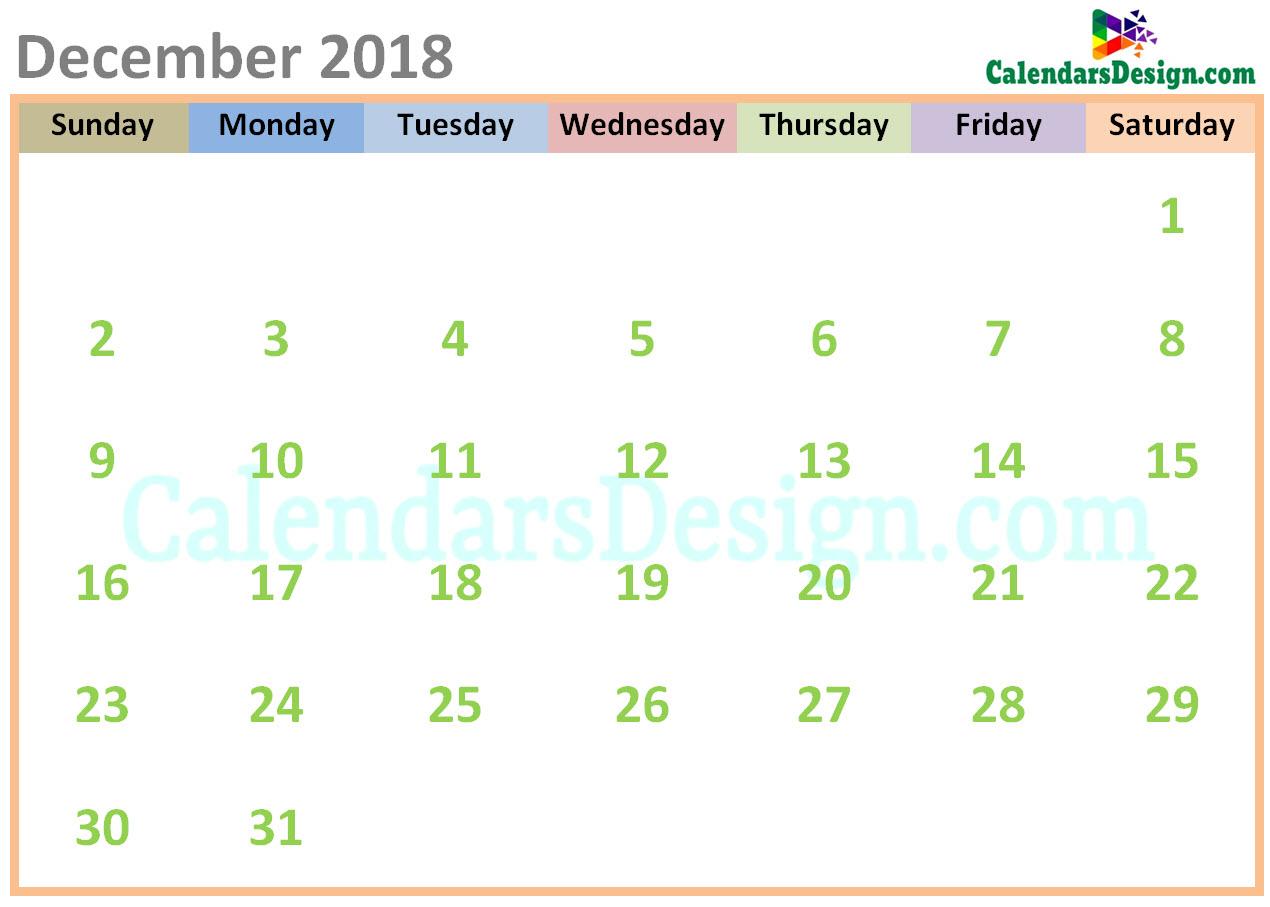 December 2018 Calendar Cute Designs Free 2019 Printable Calendar