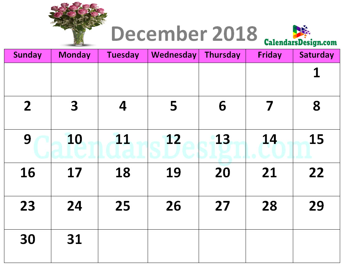 Decorative December 2018 Cute Calendar