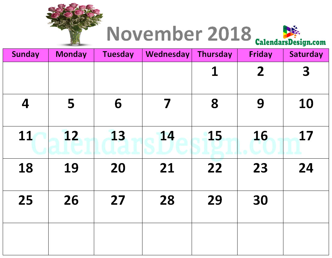 Decorative November 2018 Cute Calendar