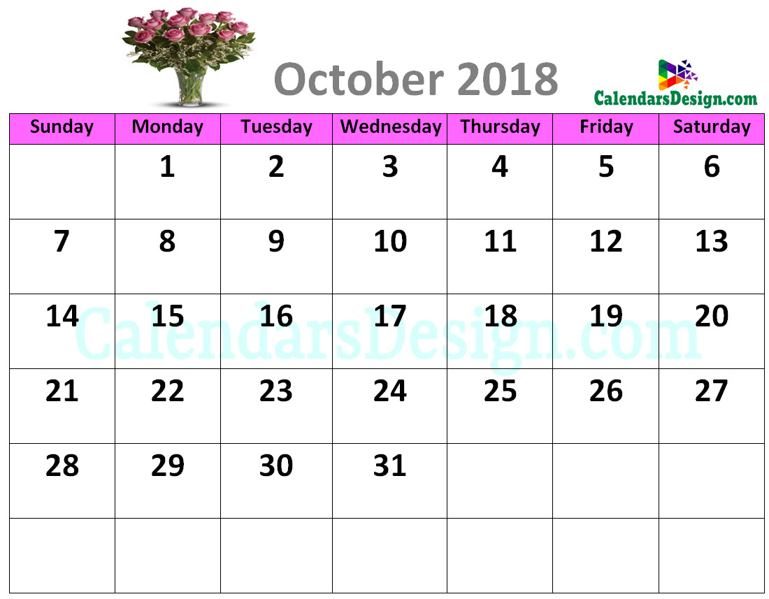 Decorative October 2018 Cute Calendar