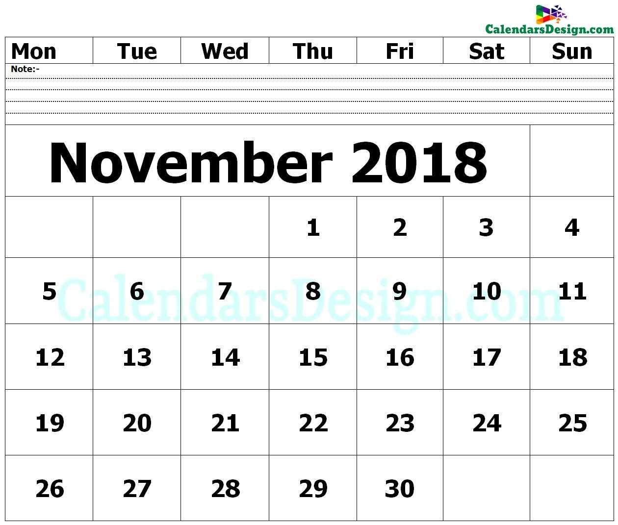 editable november 2018 calendar blank template