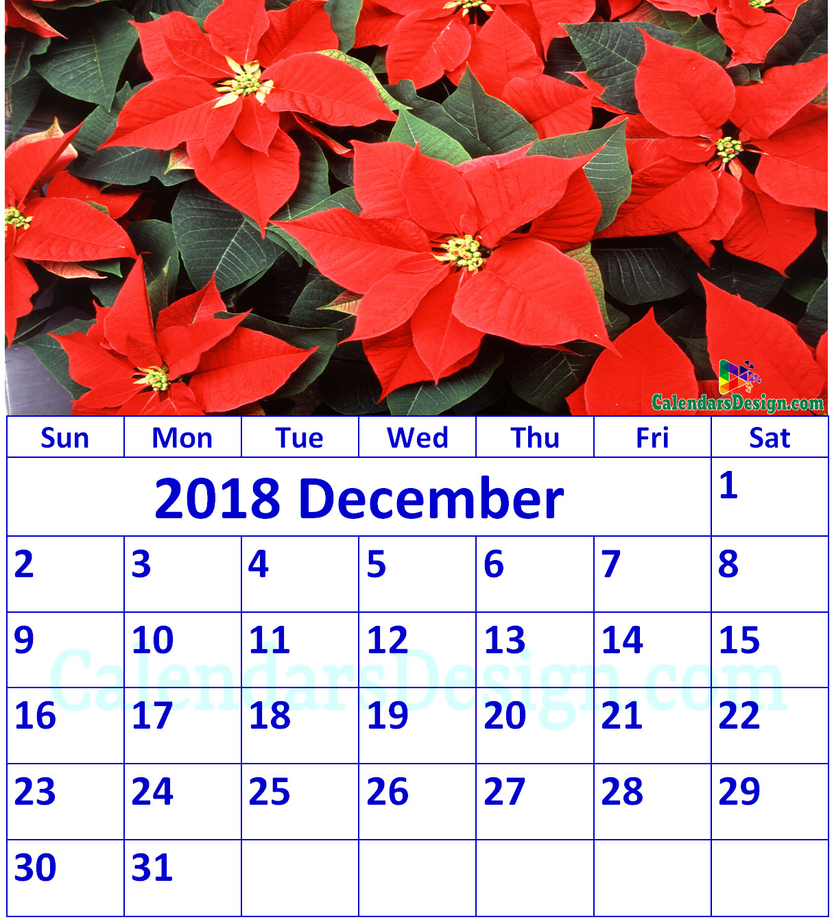 image about December Calendar Printable With Holidays referred to as Floral December 2018 Calendar Printable - Cost-free 2019