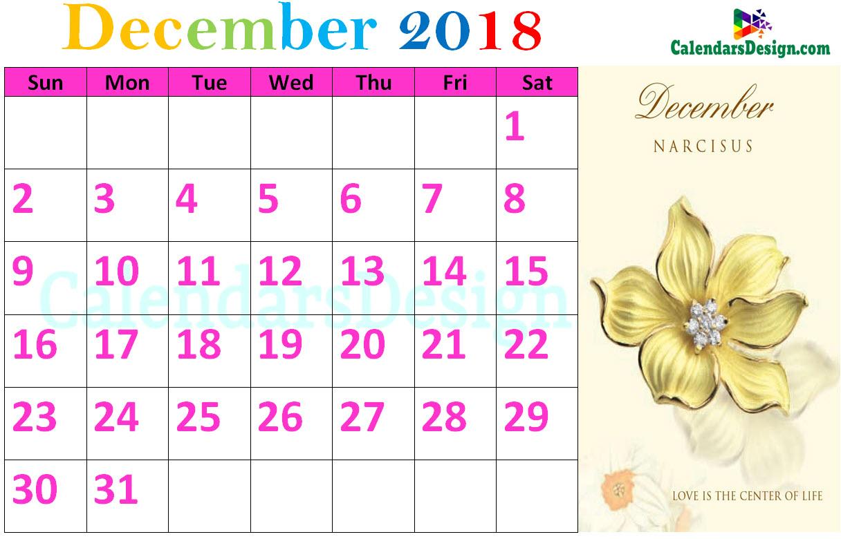 Floral December 2018 Calendar