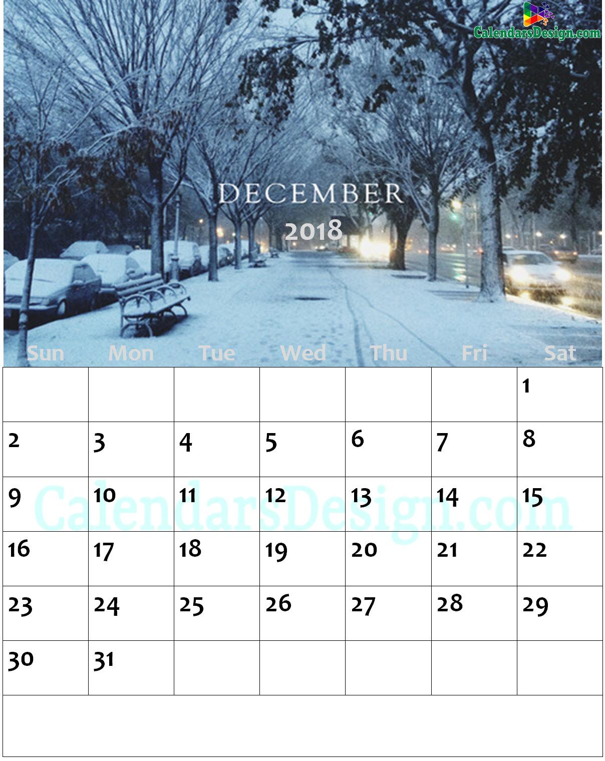 Floral December 2018 Wall Calendar