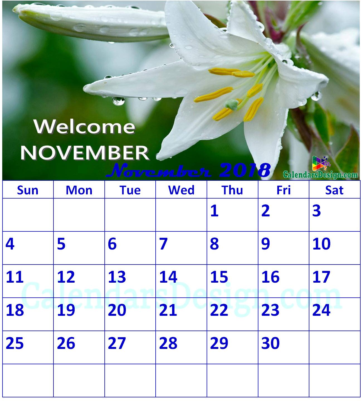 Floral November 2018 Calendar