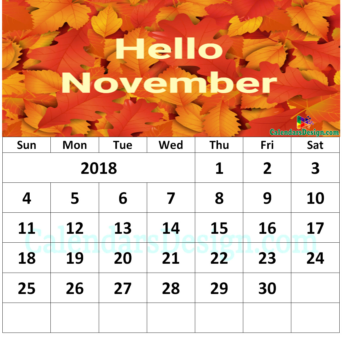 Floral November 2018 Wall Calendar