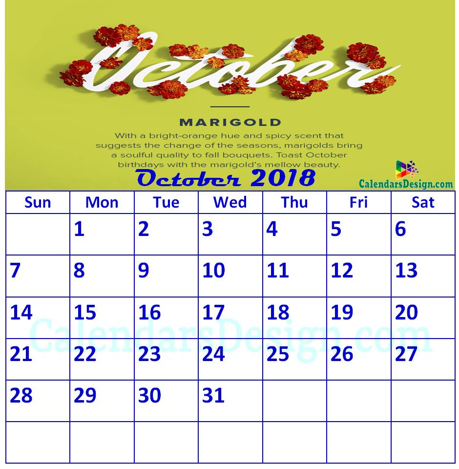 Floral October 2018 Calendar Printable