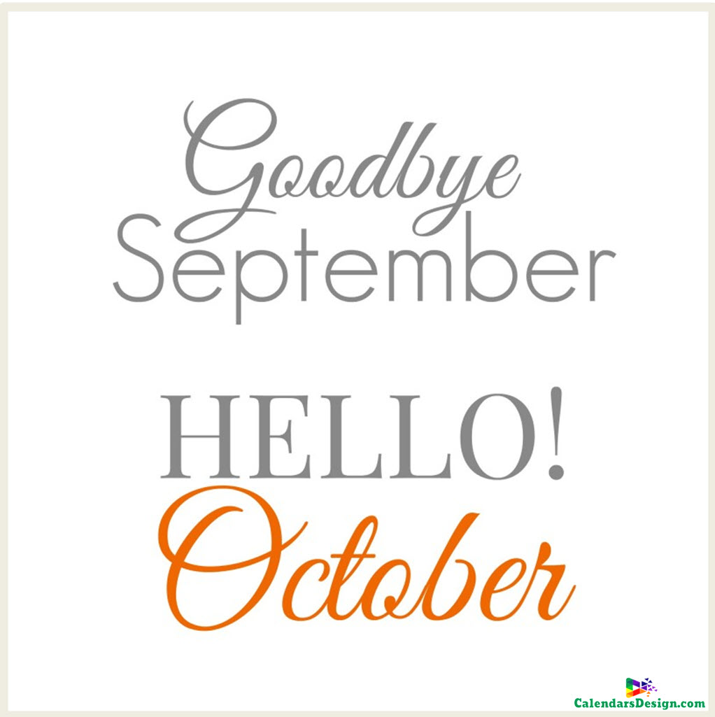 Goodbye September Hello October Clipart