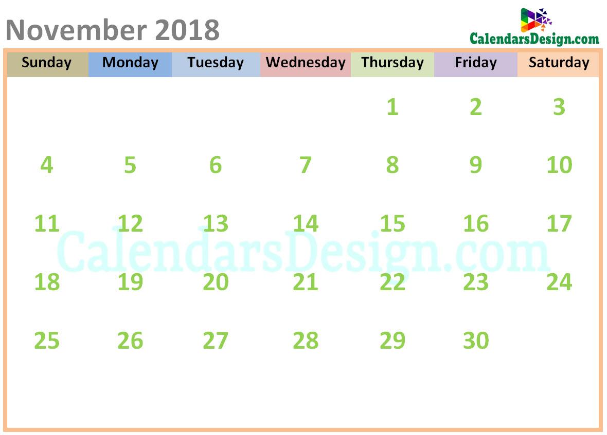 November 2018 Calendar Cute Designs