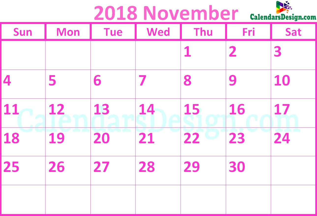 November 2018 Calendar Pink