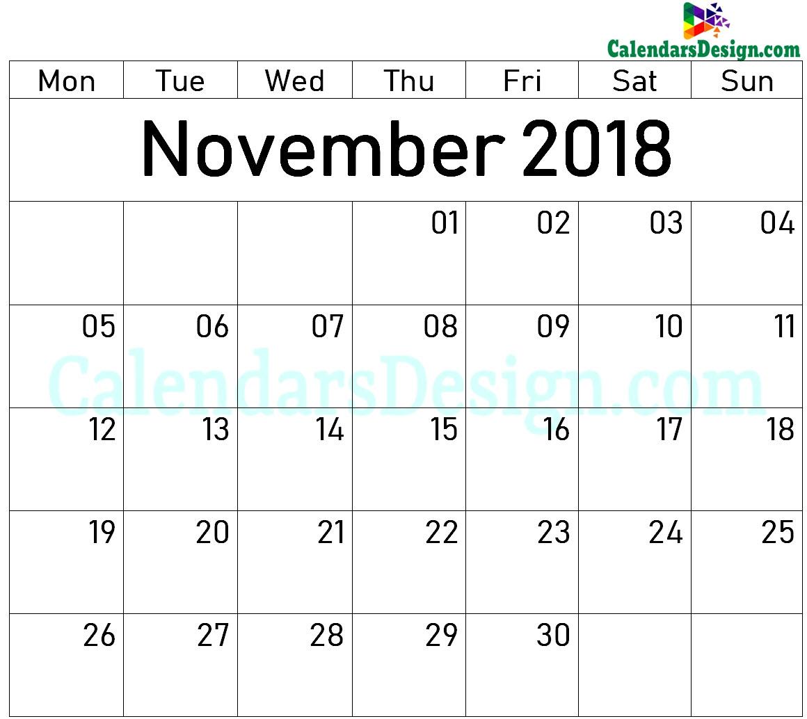 November 2018 Printable Blank Calendar