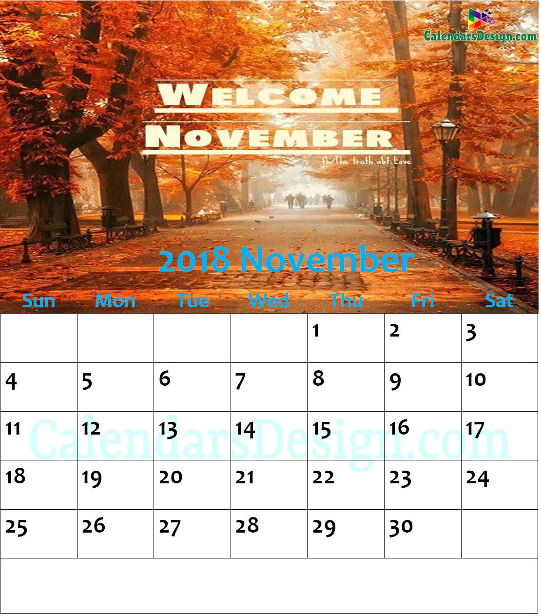 November 2018 Wall Calendar