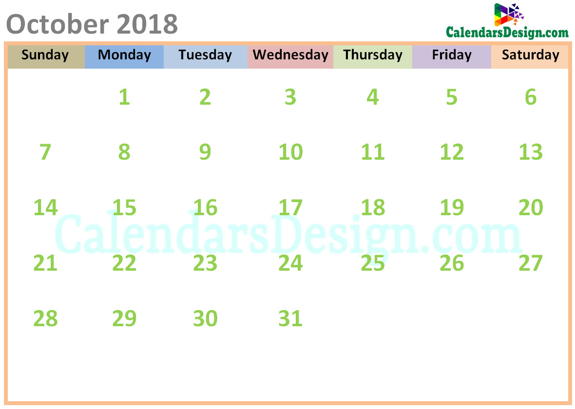 October 2018 Calendar Cute Designs