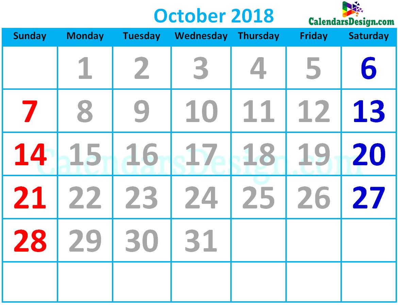 October 2018 Calendar Cute