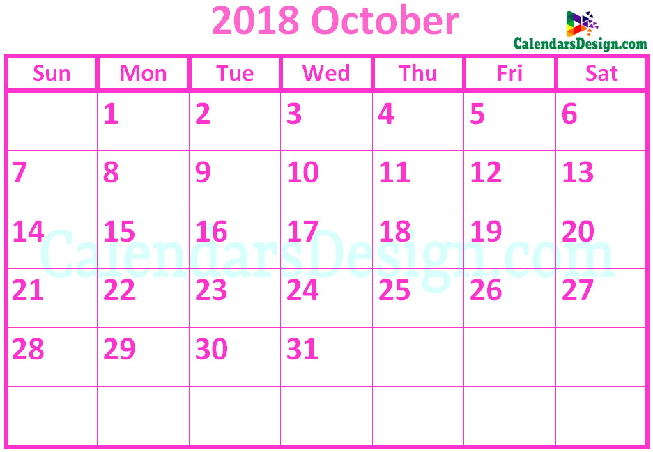 October 2018 Calendar Pink