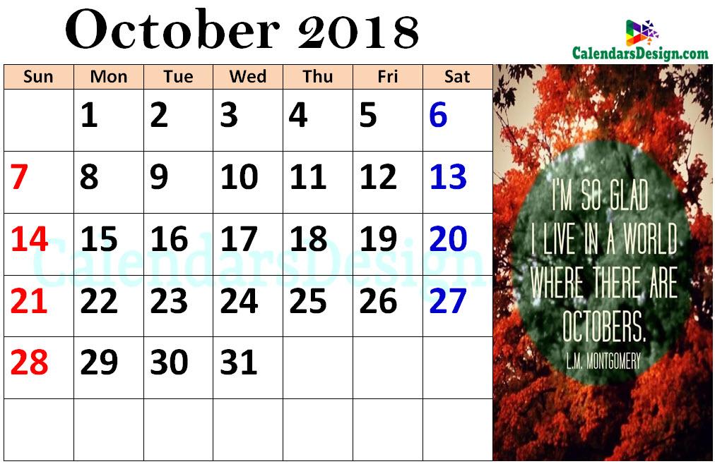 October 2018 Calendar Tumblr