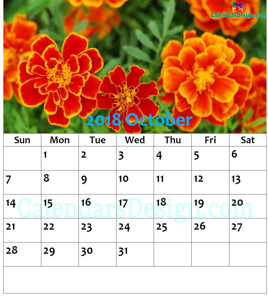 October 2018 Wall Calendar
