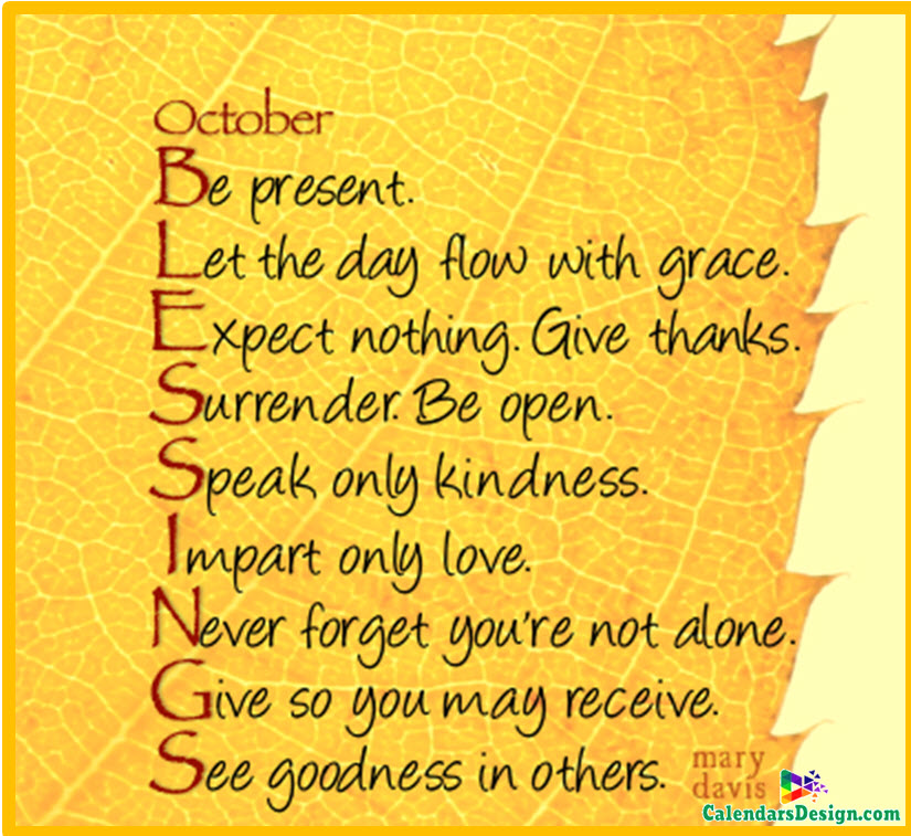 October Month Sayings