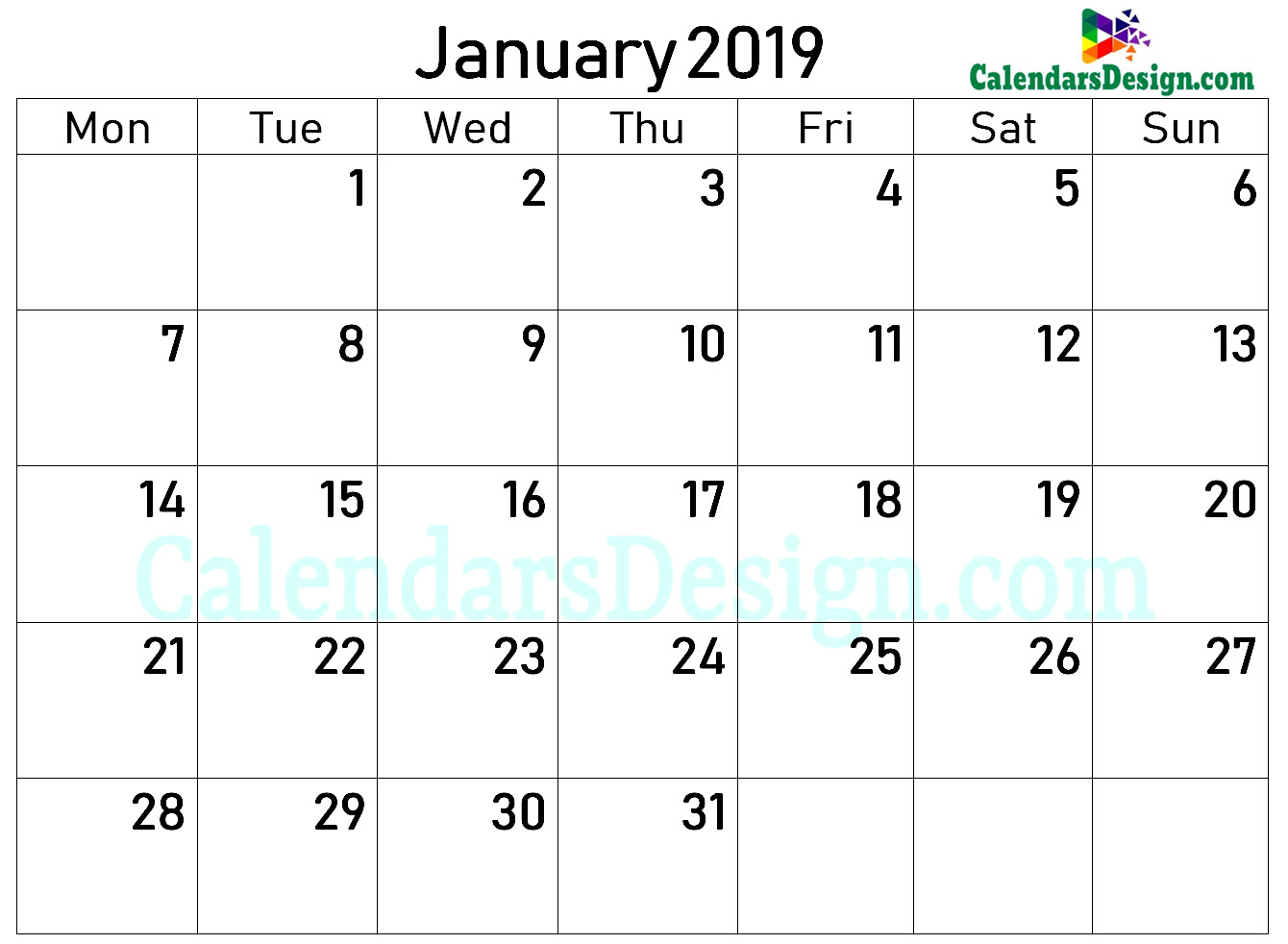 2019 Calendar January Excel Templates