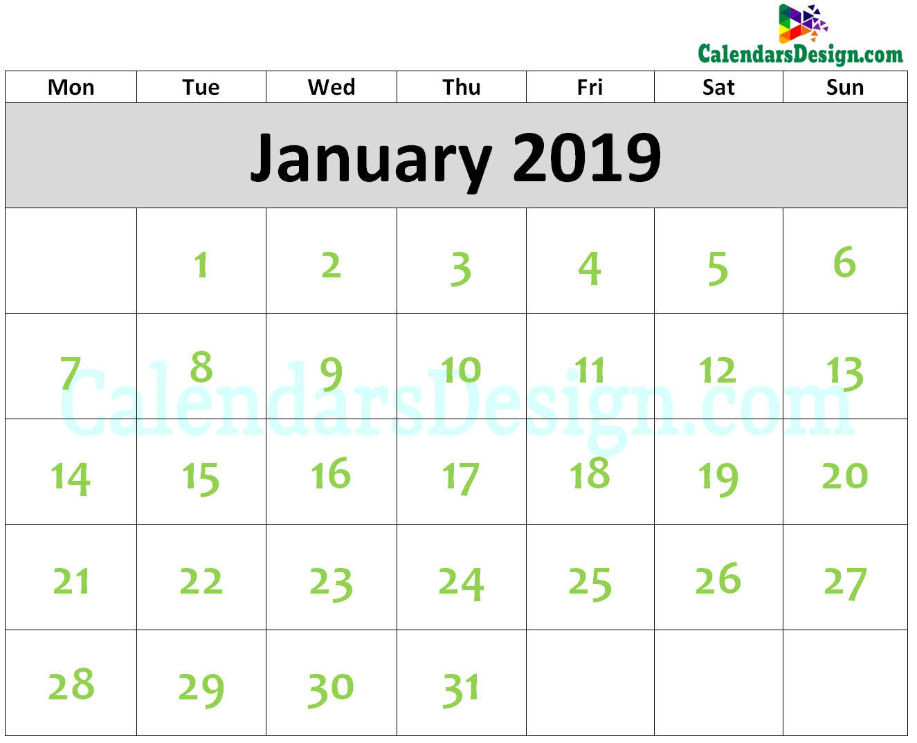 2019 January Calendar Printable Template