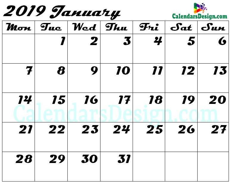 Blank January Calendar 2019 Template