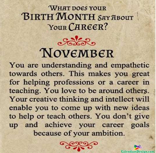 Born In November Quotes And Sayings Free 2019 Printable Calendar