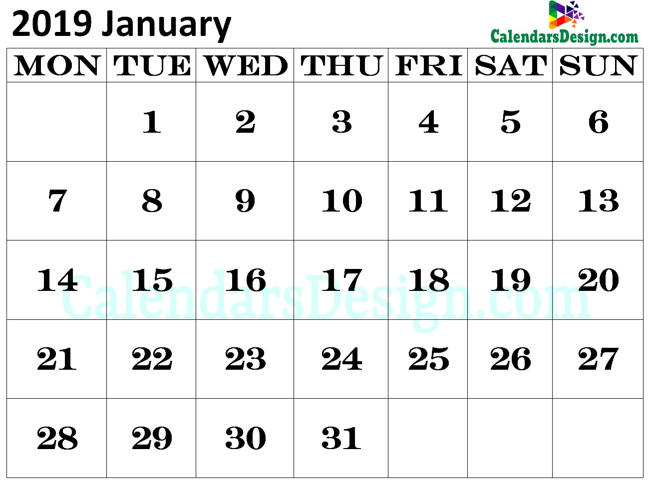 Calendar for January 2019 Excel to Print