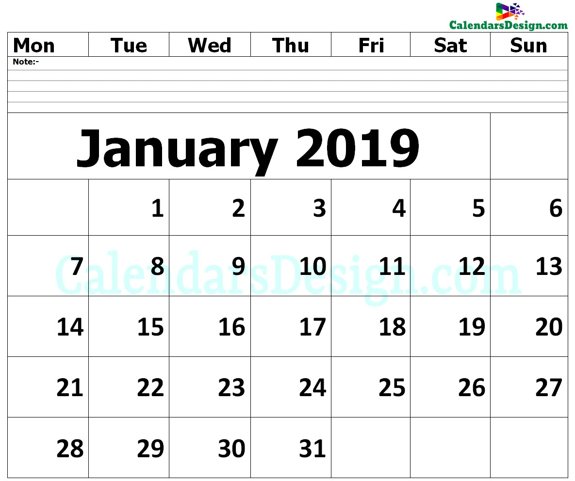 Editable January 2019 Calendar Blank Template