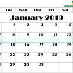January 2019 Calendar Printable